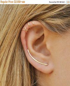 SALE Modern Minimalist Set of 3 Smooth Ear Climbers Ear