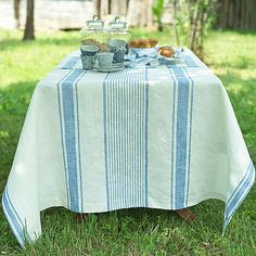 Off White Blue Striped Linen Tablecloth by LinenbyInga on Etsy