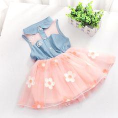 새로운 공주 아기 소녀 아이 데님 민소매 탑 얇은 명주 그물 투투 미니 dress 1-4y