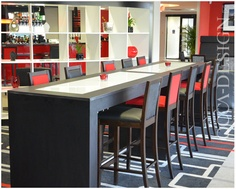 Ramada Encore, Gateshead, Hotel Interior Design, Bar design, Red Interior, Red & Black Interior, Bar Stools