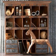 Wood Cabinet With Cubbies and Drawers
