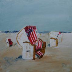 Acrylmalerei - Strandkörbe weiss rot gemalt 50 x 50 x 4 cm - ein Designerstück von Petra-Moenkemoeller bei DaWanda