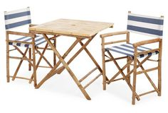 Outdoor Square Dining Set, Navy/White