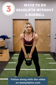 Follow along with this video to learn 3 ways to do deadlifts without a barbell. Bridge Workout, Glute Bridge, Cross Training, Strength Training, How To Do Deadlifts, Glute And Hamstring Workout, Upper Body Workout For Women, Kettlebell Deadlift, Indoor Rowing