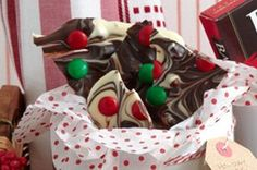 Red and green candy-covered chocolate pieces make this bark very festive looking.