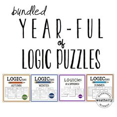 This bundle contains 20 different logic puzzles to keep your students thinking throughout the school year. Youll never be without a challenge that works for any season of the year. That would just be . . . illogical!Let your students know that your class is all about thinking and sticking with a problem until it is puzzled out.Included in this resource are 4 sets of  5 logic puzzles on twenty pages, ready to be printed and solved!
