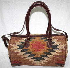 Vintage Turkish Kilim Boho Hippie Weekend Carpet Duffel leather travel Bag #Handmade #TravelBag