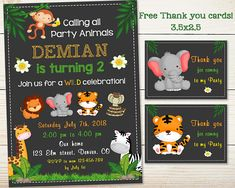 Jungle birthday invitation Jungle invitation printable ZOO