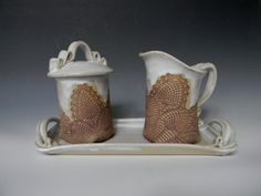 Cream and sugar set on ceramic tray. by blueheronpottery on Etsy, $75.00