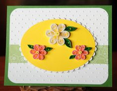 3 Quilled Flowers All Occasion Blank Card. $5.00, via Etsy.