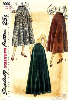 Simplicity Pattern 2666 Vintage 40's Flared Skirts + Pockets - Two Lengths! Complete Waist Size 26 Hip 35 $14.00