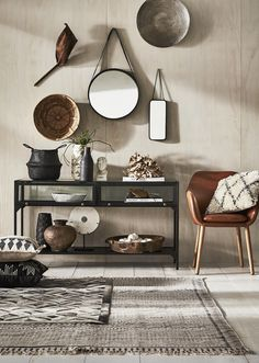 side table styling with brown and black homewares and mirrors from freedom Side Table Styling, Console Table Styling, Freedom Furniture, Home Furniture, Shelf Behind Couch, Drum Coffee Table, Urban Rustic, Black Side Table, Floor Decor