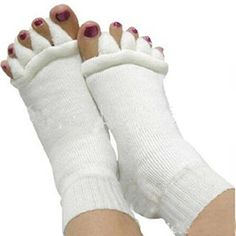 HuntGold 1 Pair Massage Socks Yoga Correction Foot Pain Relief Five Toes Separator Socks