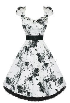 Retro Rockabilly Vintage Floral Print Swing Dress Cap Sleeve White