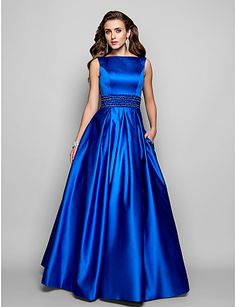 Ball Gown Bateau Floor-length Satin Evening Dress - USD $ 199.99. Can get this in any color!