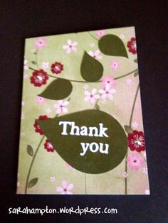 Leaf and rhinestone thank you card