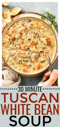 Tuscan White Bean Soup with RECIPE VIDEO | This recipe ispacked with texture and flavor! Made in just one pot and ready in 30 minutes or less, this Tuscan soup is a restaurant quality dish you can easily make from the comfort of your own home! #Tuscan #bean #bacon #easy #quick #soup #recipe via @nospoonn