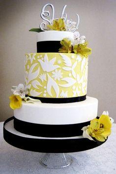 wedding cake (white, black, yellow)