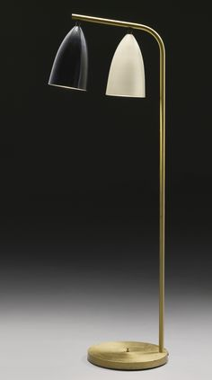 Greta Magnusson Grossman; Enameled and Anodized Metal Floor Lamp for Ralph O. Smith Co., c1948.