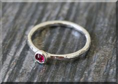 Sterling Silver Swarovski Ruby Ring July by thewrappedpixie