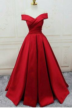 Prom Dresses For Teens, Gorgeous Satin Red Off Shoulder Prom Gowns Lace up, Long Red Gowns, Formal Gowns Dresses Modest A Line Prom Dresses, Lace Evening Dresses, Sexy Dresses, Prom Gowns, Gowns 2017, Red Dress Prom, Long Dresses, Long Gowns, Red Evening Gowns