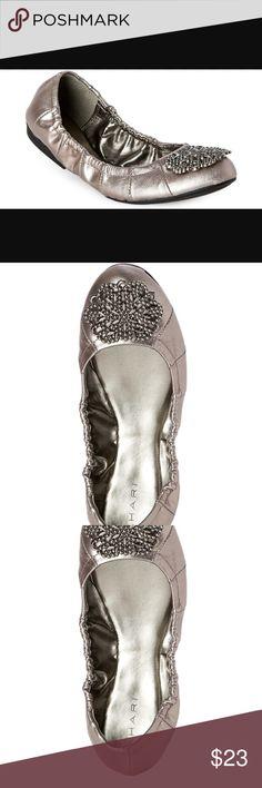 40af899aa1307 Tahari Metallic Leather Flats