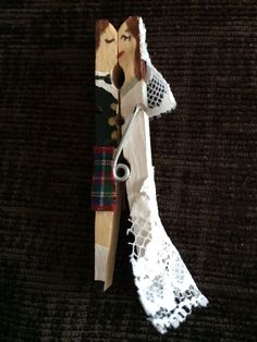 Kissing clothespin - Bride and Groom with kilt