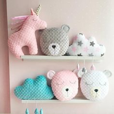 ♥ These lovely cushions are handmade and designed by me. Very soft and so nice to touch. Material: plush Minky and cotton. Stuffed with an anti allergenic stuffing. The dimensions of the Unicorn pillow: 43 cm = 17 inches long 38 cm = 15 inches tall The dimensions of the Bear pillow: