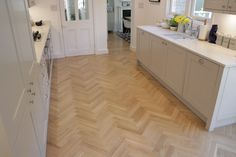 European Oak Herringbone for a Kitchen & Boot Room in Cambridge. The Engineered Oak Herringbone blocks were lacquered with Pallmann Pall-X Pure Lacquer Oak Parquet Flooring, Herringbone, Cambridge, Tile Floor, Pure Products, Kitchen, Room, Home Decor, Bedroom