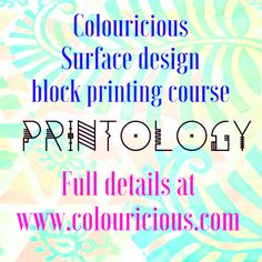 Colouricious Printology is a block printing course on surface design for textile art. Learn how to use wooden printing blocks, gelli plates & stencils Textile Recycling, Workshop Plans, Arts And Crafts, Paper Crafts, Textiles, Art Courses, Block Design, Surface Design, Textile Art