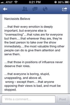What your narcissist believes