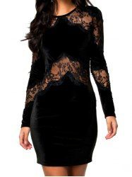 $13.36 Lace Splicing Sexy Round Neck Translucent Long Sleeve Dress For Women