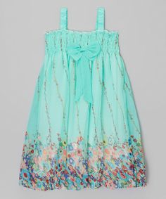 Take a look at this Teal Floral Babydoll Dress - Infant, Toddler & Girls today!