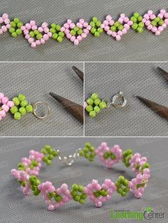 Tutorial for making a simple spring beaded heart bracelet