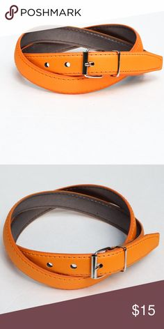 "Orange Women Belt Width:1""  Length: Approximately 39""  Material: Faux Leather (PU leather)  NOTE: Color might be slightly different due to different computer screen resolution Accessories Belts"