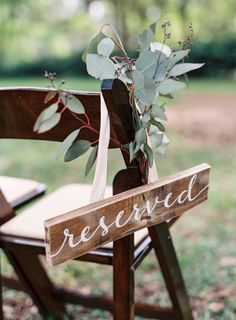 Love the reserved seating signs!!   The Vault: Curated & Refined Wedding Inspiration - Style Me Pretty