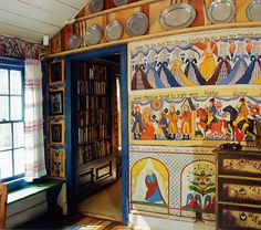 """Ten Chimneys"" mural painted in the Swedish style by Claggett Wilson for Lunt and Lynne Fontanne."