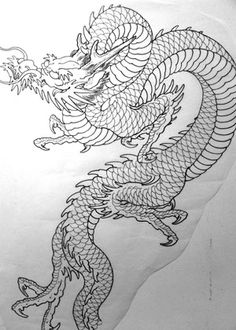 Dragon on stencil, Chris O'Donnell, Saved Tattoo, Japanese