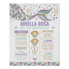 Ad: This adorable birthday milestone poster features a cute mermaid tail and whimsical underwater elements #girl #1st #birthday #milestone #poster #chalkboard #sign #baby #nursery #wall #art #mermaid #under #the #sea #party #ocean #beach #creatures #purple #pink #mint #gold #underwater #starfish #seahorse #shells #cute #whimsical #playful #pretty