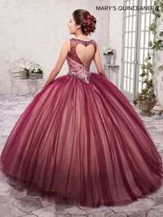 Burgundy quinceanera dresses - TwoPiece Illusion Quinceanera Dress by Mary's Bridal Xv Dresses, Cute Prom Dresses, Sweet 16 Dresses, Ball Gown Dresses, Pretty Dresses, Pageant Dresses, Burgundy Quinceanera Dresses, Cheap Quinceanera Dresses, Quinceanera Ideas