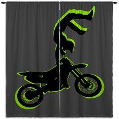 Motocross Curtains, Custom Window Curtain, Dirt Bike Window Curtains, Freestyle Tricks #54