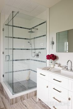 Glass Shower With Limestone-Band Tiles | Photo Gallery: Sarah Richardson Designs | House & Home | Photo by Janet Kimber