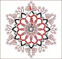 Crochet Motif, Crochet Doilies, Crochet Flowers, Crochet Stitches, Free Crochet, Crochet Stars, Flower Chart, Knitting Patterns, Crochet Patterns