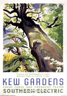Kew Gardens. Vintage SR Travel Poster by Rojan ADD: Advertising Kew as perhaps a more tropical, extraordinary environment. Takes the project down the route that Kew is an escape from the urban jungle of London. Juxtaposition of different landscapes.