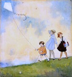 The kite by Ethel Spowers :: The Collection :: Art Gallery NSW Go Fly A Kite, Kite Flying, Vintage Illustration, Australian Artists, Beach Art, Nursery Art, Nursery Rhymes, Pebble Art, Illustrations Posters