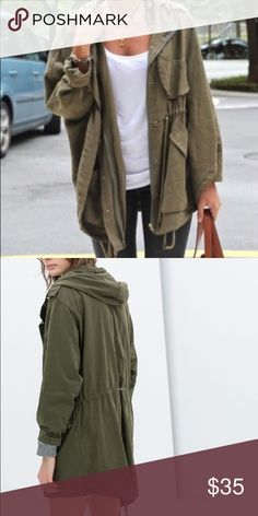 Zara green parka jacket READ DESCRIP. FOR SIZING Zara green parka jacket. Size XS but fits oversized. I normally wear a S in jackets and the sleeves are perfect length while the jacket fits like first picture Zara Jackets & Coats