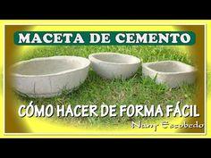 CÓMO HACER MACETAS DE CEMENTO DE FORMA FÁCIL - YouTube Cement Planters, Diy Planters, Bonsai, Concrete Bowl, Cement Crafts, Ceramic Pots, Lets Do It, Garden Pots, Dog Bowls