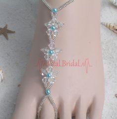 Beach wedding Barefoot Sandals foot jewelry. Ideas for my best friends beach wedding.