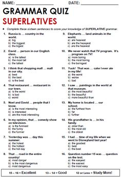 Quality ESL grammar worksheets, quizzes and games - from A to Z - for teachers & learners SUPERLATIVE ADJECTIVES