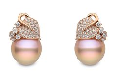 Yoko London 18kt rose gold earrings with 1.51cts diamonds and natural colour baroque Freshwater pearls 15-16mm